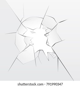 Broken glass with hole, transparent vector background