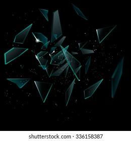 Broken glass on the black background, vector Eps10