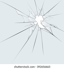 Broken glass on blue background. Cartoon vector illustration EPS10