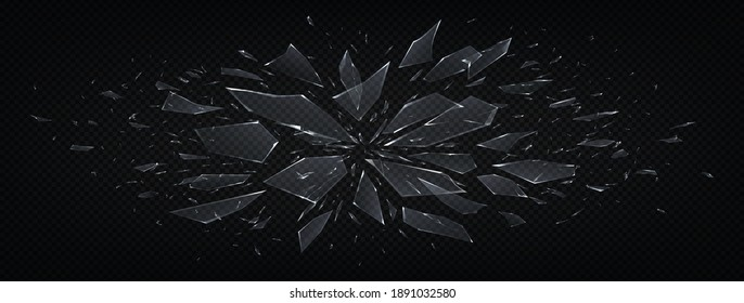 Broken glass. Realistic abstract shattered transparent fragments of crushed glass, explosion 3D effect with realistic shiny pieces isolated on black. Abstract blowing up vector horizontal background