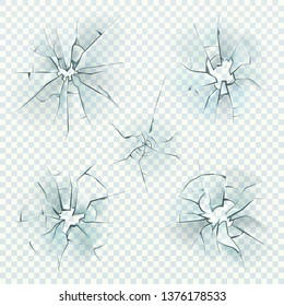 Broken glass. Realistic cracked crushed deforming mirrors crash ice, shattered screen window, bullet glass hole, damaged windshield. Vector texture set