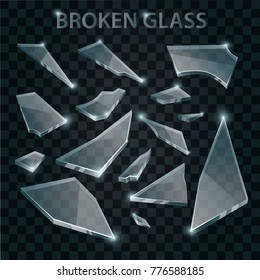 Broken Glass. Realistic Shards on Transparent Background.