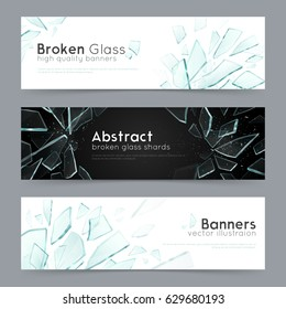 Broken glass shattered fragments on black and white background 3 abstract decorative horizontal banners set vector illustration