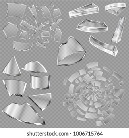 Broken glass vector sharp pieces of window and realistic shattered glassware or shattering debris of breaking mirror isolated on transparent background illustration backdrop