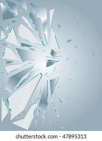 Broken Glass White 1 Vector Drawing