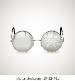 Broken glasses, eps10 vector
