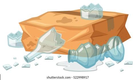 Broken glasses and paper box in trash illustration