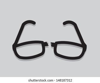 Broken glasses snapped in half