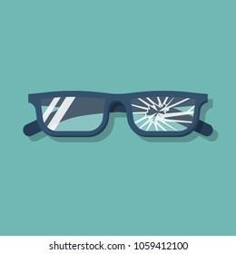 Broken glasses. Vector illustration flat design. Isolated on background. Old break glasses.