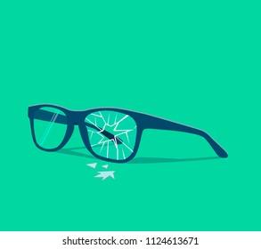 Broken glasses. Vector illustration. Old break glasses.