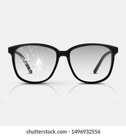 Broken glasses. Vector glasses isolated on white background.