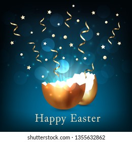 Broken golden easter egg with light and confetti on a dark blue background. Bokeh light and glare from a cracked golden shell. Happy easter concept. Vector, space for text