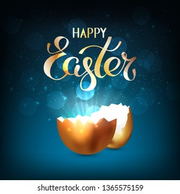 Broken golden easter egg with rays of light on a dark blue background. Bokeh light and glare from a cracked golden shell. Happy easter concept. Vector, space for text