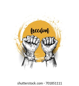 Broken handcuff Freedom concept, Hand Drawn Sketch Vector illustration.
