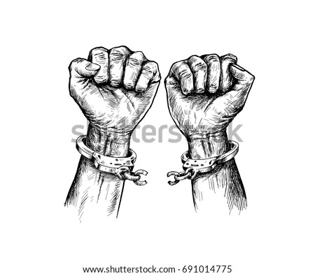 Broken Handcuff Freedom Concept Hand Drawn Stock Vector Royalty