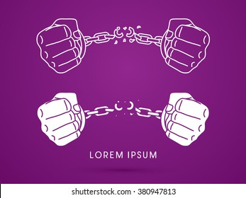 Broken handcuffs for freedom graphic vector.