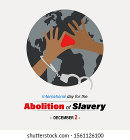 Broken handcuffs, taste of freedom, joining hands, sign of love. Creative banner/ poster/ad/ campaign for Abolition of slavery, worldwide on December 2.