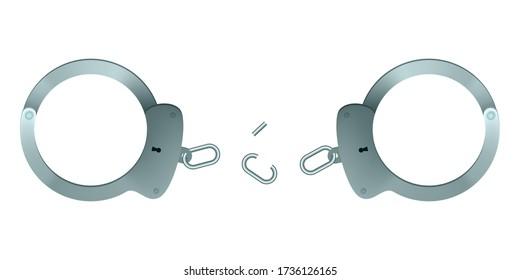 Broken handcuffs. Vector illustration. The perpetrator escaped.