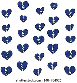 Broken heart blue pattern closeup. End to relationship or marriage. Break up and separation split of couple, cracked love.  Illustration for greeting cart, poster and header.