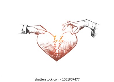 Broken Heart Concept Hand Drawn Man And A Woman Holding Two Half Of