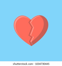Broken Heart Flat Vector. Love symbol. Valentine's Day sign, emblem isolated, Flat style for icon, graphic,web design, and logo.