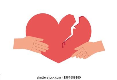 Broken heart and holding hands flat vector illustration