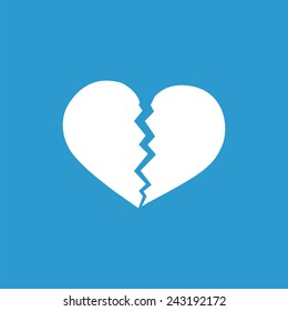 broken heart icon, isolated, white on the blue background. Exclusive Symbols