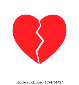 Broken heart icon red heartbreak divorce symbol no love separation lonely valentine  illustration