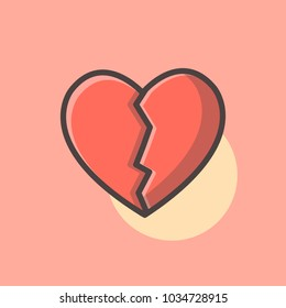 Broken Heart Illustration Vector. Love symbol. Valentine's Day sign, emblem isolated, Flat style for icon, graphic,web design, and logo.