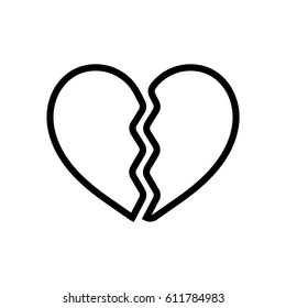 Broken heart line icon