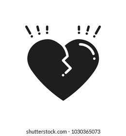 Broken heart line icon. Sign and symbol. Love end relationship lie wedding divorce treachery heartbreak theme. Heart shape.