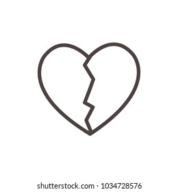 Broken Heart Line Vector. Love symbol. Valentine's Day sign, emblem isolated, Flat style for icon, graphic,web design, and logo.