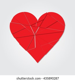 Broken heart. Love art red. Romantic elements. Valentine from the fragments. Vector illustration.