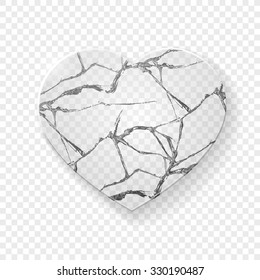 Broken heart made from glass. Heart shapes. Heart logo. Heart frozen. Heart image.