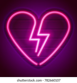 Broken heart neon sign. Decoration element. Vintage neon heart on a signboard. Eps10 vector