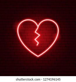 Broken Heart Neon Sign. Vector Illustration of Love Promotion.