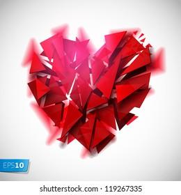 Broken heart on a white background, vector Eps 10 illustration