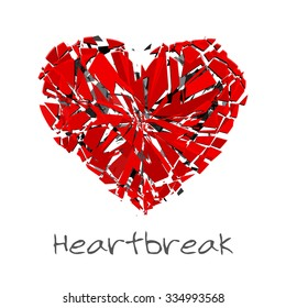 Broken heart red shards. Vector illustration. Print for t-shirt