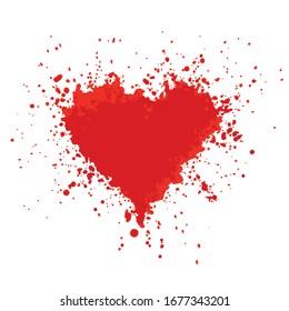Broken heart. Red spot in the shape of a bleeding heart on white background. Vector illustration