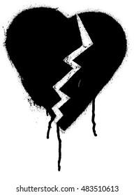 Broken heart shape. Black paint graffiti vector illustration