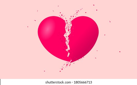 Broken heart shape - Illustration of red heart split in the middle with dust and debris. Heartbroken, lost love, and breakup concept. Vector illustration.