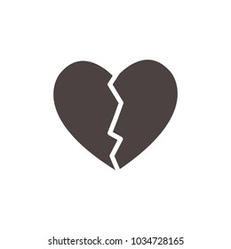 Broken Heart Solid Vector. Love symbol. Valentine's Day sign, emblem isolated, Flat style for icon, graphic,web design, and logo.