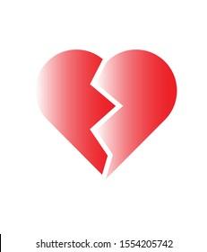 BROKEN HEART SYMBOL. VECTOR ILLUSTRATION