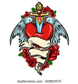 Broken heart tattoo design with dagger and bird wings red roses and leaves white ribbon vector illustration