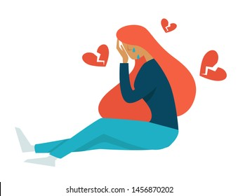 Broken heart or teenager problem puberty isolated female character vector girl crying, on floor depression and unstable emotions love and pain teen in tears growing up issues vulnerability youth
