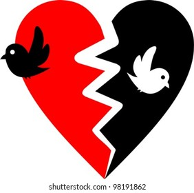 broken heart with two birds - vector illustration