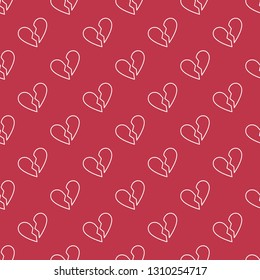 Broken Heart vector concept linear geometric red seamless pattern or background