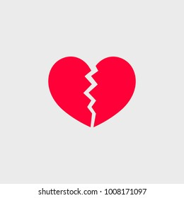 Broken heart. Vector icon.