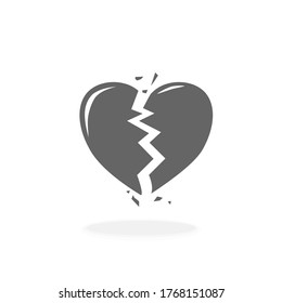 Broken Heart Vector Icon Black Silhouette Vector Illustration Sign Symbol