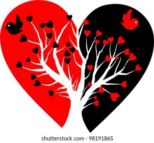 broken heart with white tree and two birds - vector illustration